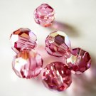 6X 8mm Swarovski 5000 Round Crystal Beads Rose AB