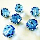 6X 8mm Swarovski 5000 Round Crystal Beads Sapphire
