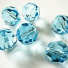 4X 10mm Swarovski 5000 Round Crystal Beads Aquamarine