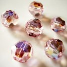 4X 10mm Swarovski 5000 Round Crystal Beads Light Rose AB