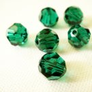 6X 8mm Swarovski 5000 Round Crystal Beads Emerald