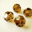4X 10mm Swarovski 5000 Round Crystal Beads Smoked Topaz