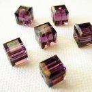 Amethyst 4X 6mm 5601 Cube Swarovski Crystal