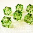 Peridot 2X 8mm 5601 Cube Swarovski Crystal