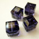 Purple Velvet 2X 8mm 5601 Cube Swarovski Crystal