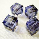 Tanzanite 2X 8mm 5601 Cube Swarovski Crystal