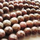 "16"" Rhondonite 10mm Faceted Round Beads GB002"