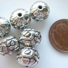 8X Antique Silver Heavy Rondelle Pumpkin Spacer Beads LB03