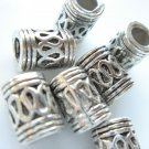 25X Antique Silver Bali Style Rope Large Hole Cylinder Spacer Beads