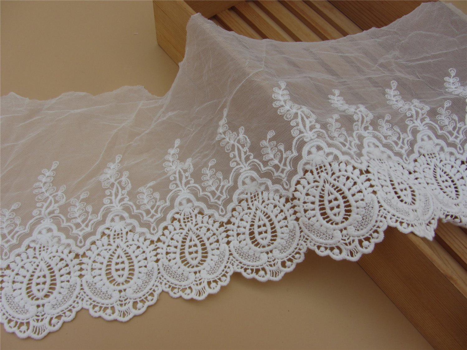 5yards embroidery Lace trim-white ribbon for sewing-LSENS041