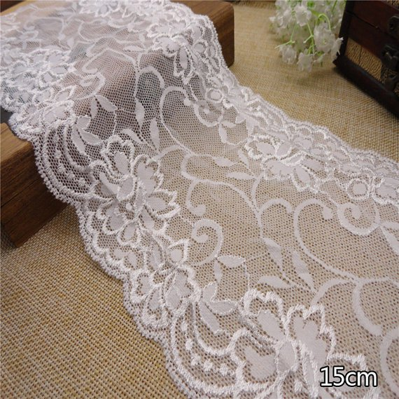Stretch lace trim,5yards white lace,garter lace trimming-LSY002