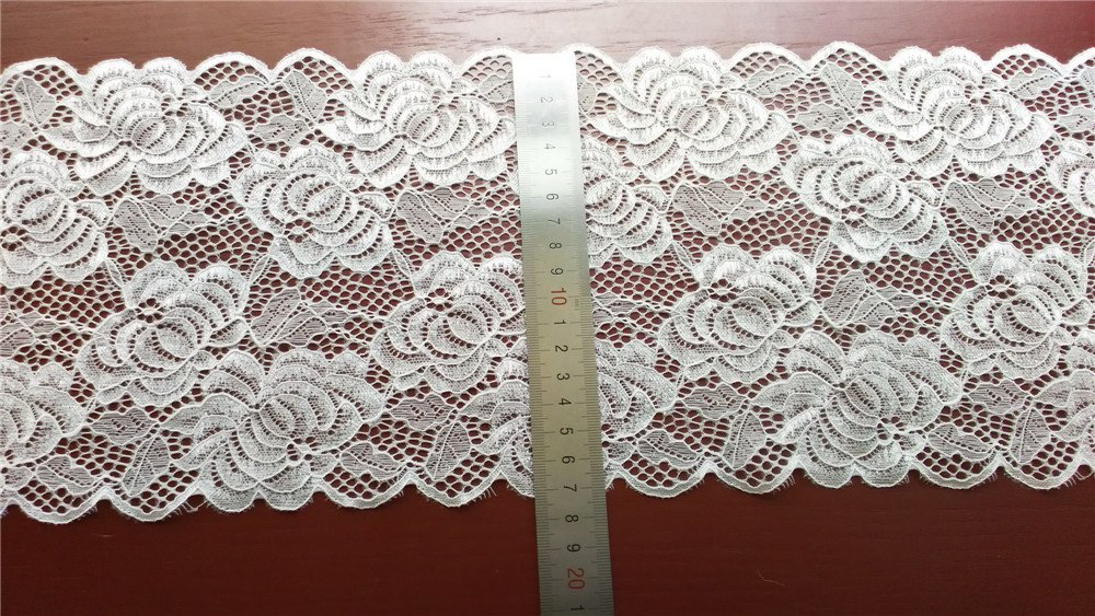 Stretch lace trim,5yards white lace,garter lace trimming-LSY004