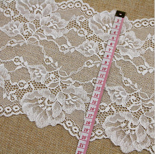 Stretch lace trim,5yards white lace,garter lace trimming-LSY0016