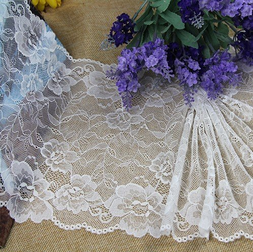 Stretch lace trim,5yards white lace,garter lace trimming-LSY018