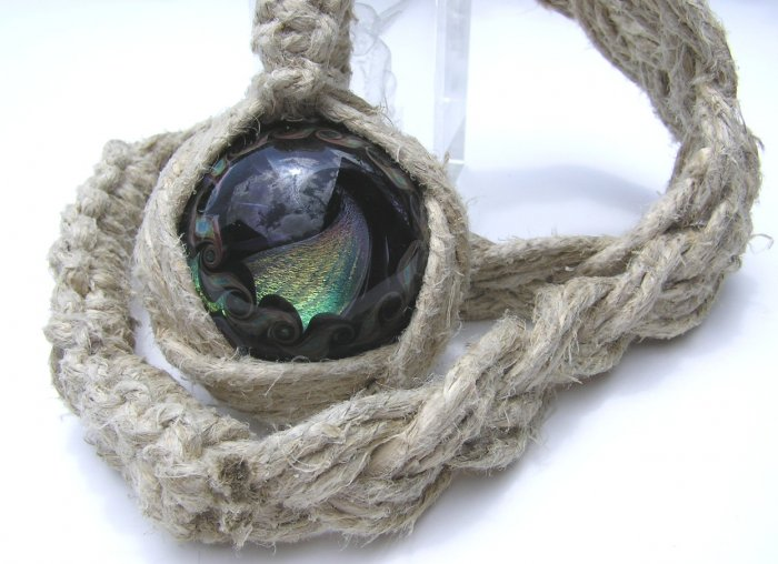 Hip Hop Style Hippie Bling Hand Knotted Hemp & Glass Yin Yang Twist Marble Necklace - Nixplicit 021M