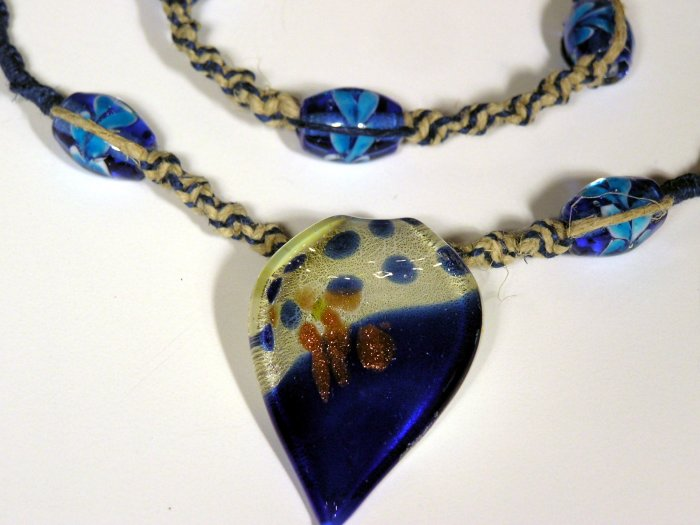 Shades of Blue Murano Glass Leaf Pendant - Hippie Bling Hemp Necklace and Bracelet - Nixplicit 012S