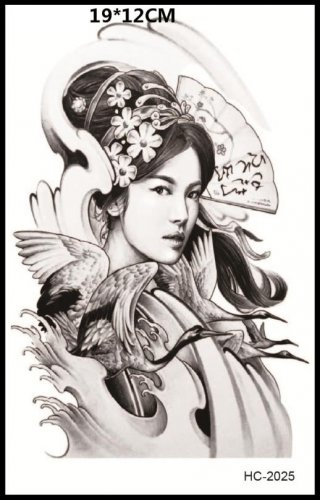 Woman Crane Tattoo Large sexy Waterproof Colorful Temporary Tattoo Body Arm Art Sticker Removable