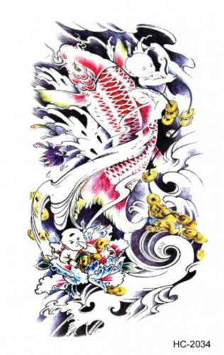 Fish sexy Waterproof Removable Temporary Tattoo Body Arm Art Sticker