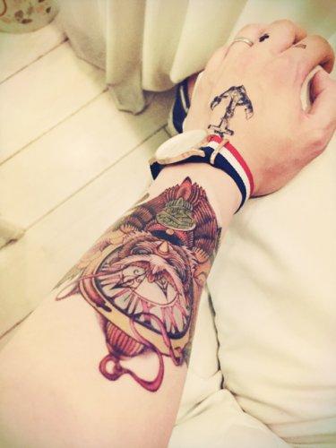 Clock Men Waterproof Removable Temporary Tattoo Body Arm Art Sticker