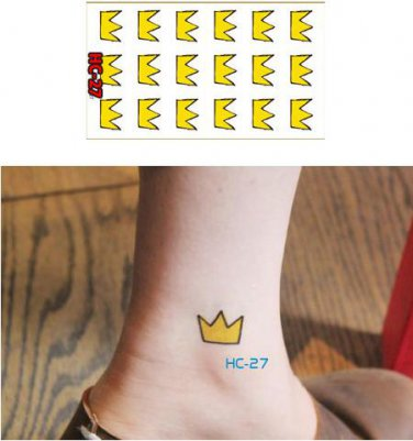 Crown Yellow Waterproof Removable Temporary Tattoo Body Arm Art Sticker
