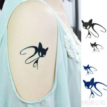 Black Cat Waterproof Removable Temporary Tattoo Body Arm Art Sticker