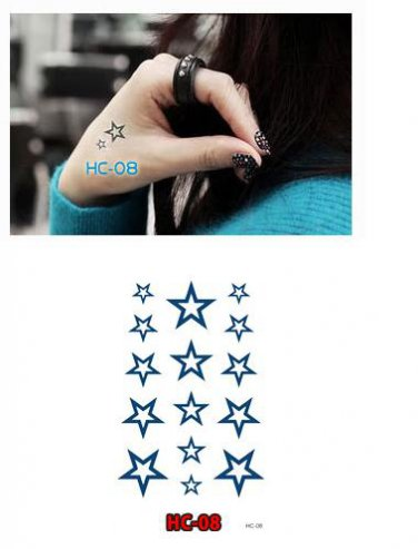 Star 3 Waterproof Removable Temporary Tattoo Body Arm Art Sticker