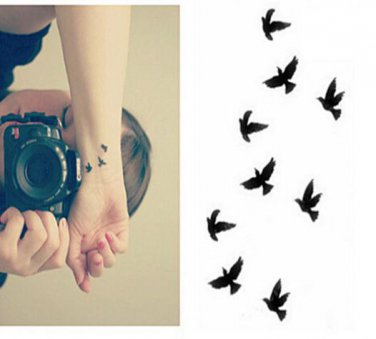 BIRDS Waterproof Removable Temporary Tattoo Body Arm Art Sticker