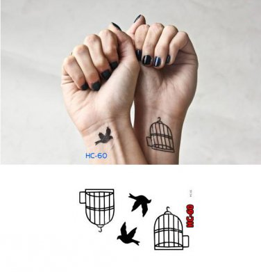 BIRD CAGE Waterproof Removable Temporary Tattoo Body Arm Art Sticker