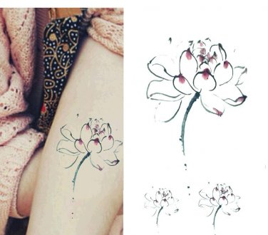 WATER COLOR LOTUS Waterproof Removable Temporary Tattoo Body Arm Art Sticker