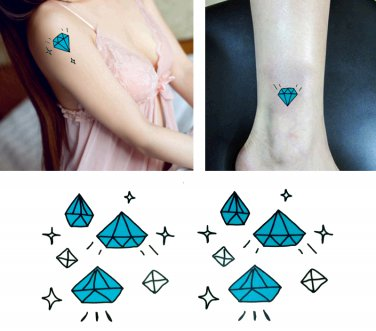Blue Diamond Temporary Tattoo Body Arm Art Sticker