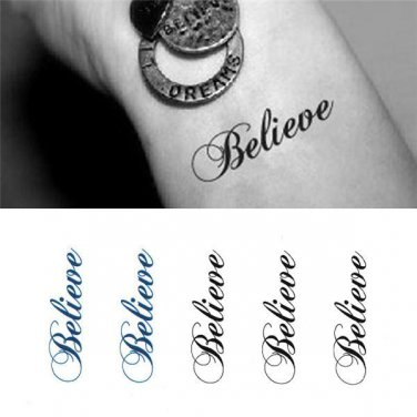 Believe Sexy Temporary Tattoo Body Arm Art Sticker