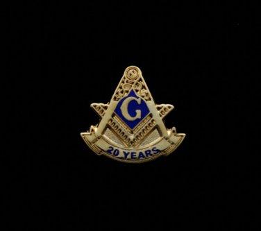 Blue Lodge 20 Years Freemason Masonic Lapel Pin
