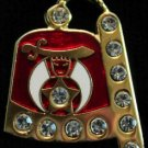 Shriner Jeweled Rhinestone Fez Freemason Masonic Lapel Pin