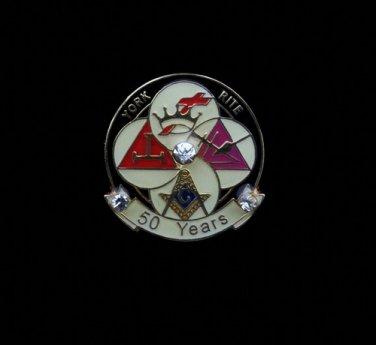 York Rite 50 Years Freemason Masonic Lapel Pin