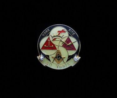 York Rite 40 Years Freemason Masonic Lapel Pin