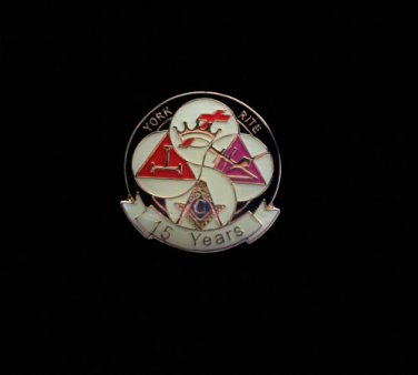 York Rite 15 Years Freemason Masonic Lapel Pin