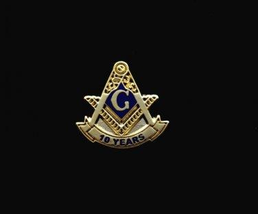 Blue Lodge 10 Years Freemason Masonic Lapel Pin
