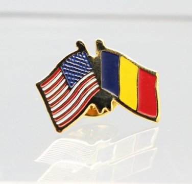 United States Romania Friendship Flag Lapel Pin