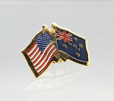 United States Australia Friendship Flag Lapel Pin