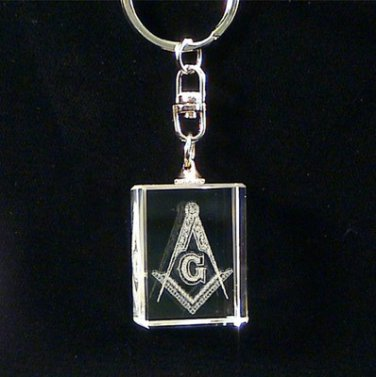 Blue Lodge Square & Compasses Crystal Masonic Freemason Keyring Keychain
