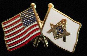 Masonic USA Flag Freemason Patriotic Lapel Pin
