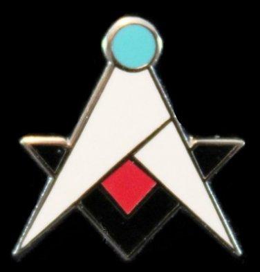Square & Compasses Blue Lodge Quad Masonic Freemason Lapel Pin
