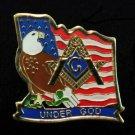 Masonic Freemason U.S. American Eagle Flag Patriotic Lapel Pin
