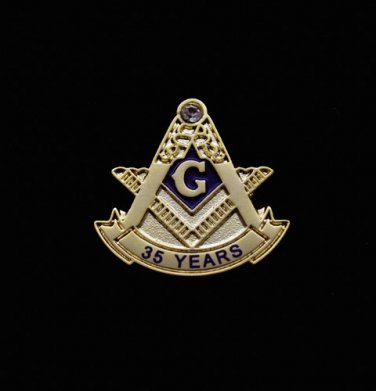 Blue Lodge 35 Years Freemason Masonic Lapel Pin