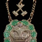Amaranth 1 Stone & Gavels Jewel Freemason Masonic