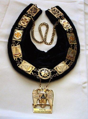 Scottish Rite S.G.I.G. Representative Masonic Freemason Collar & Jewel