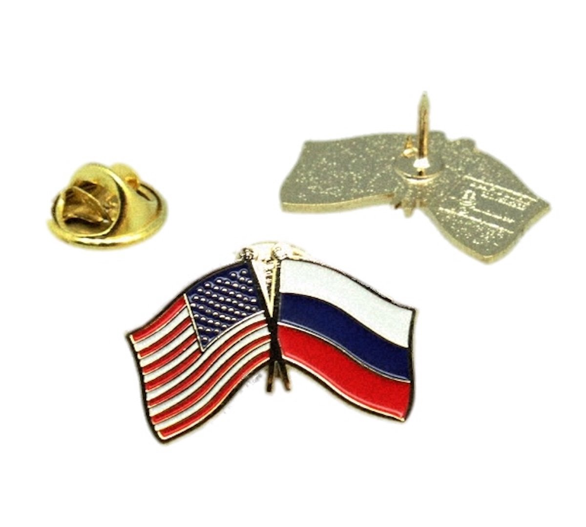 United States Russian Federation Russia Friendship Flag Lapel Pin