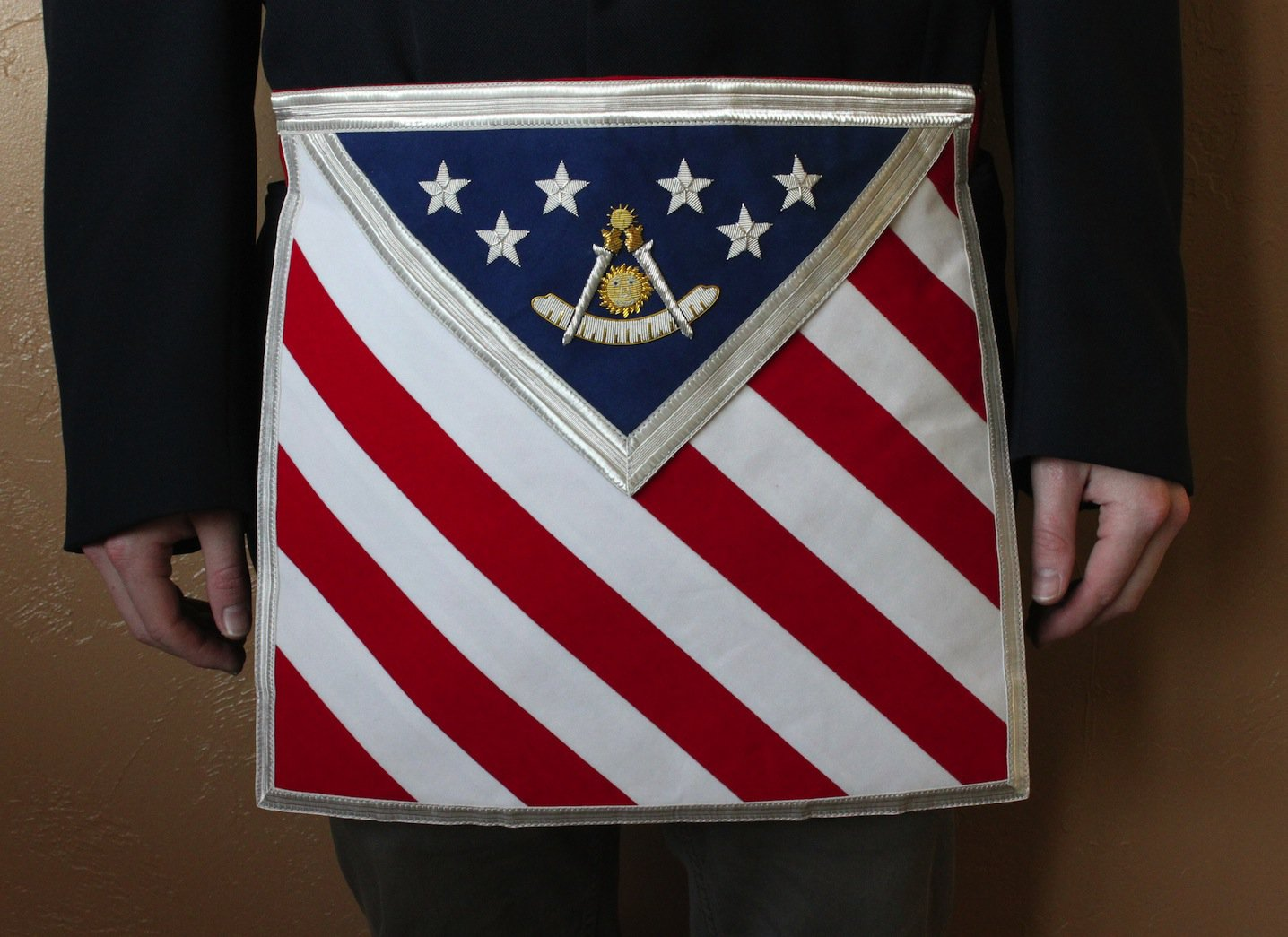 Blue Lodge Patriotic Past Master Masonic Freemason U.S. Flag Apron