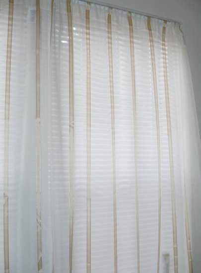 Curtains - white sheer with gold trim stripes