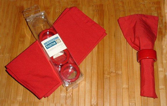red napkin rings - set of 4